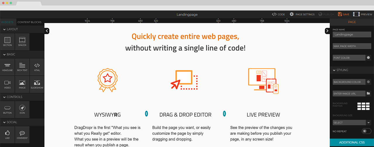 Create a website quick without writing any code and using the drag and drop features
