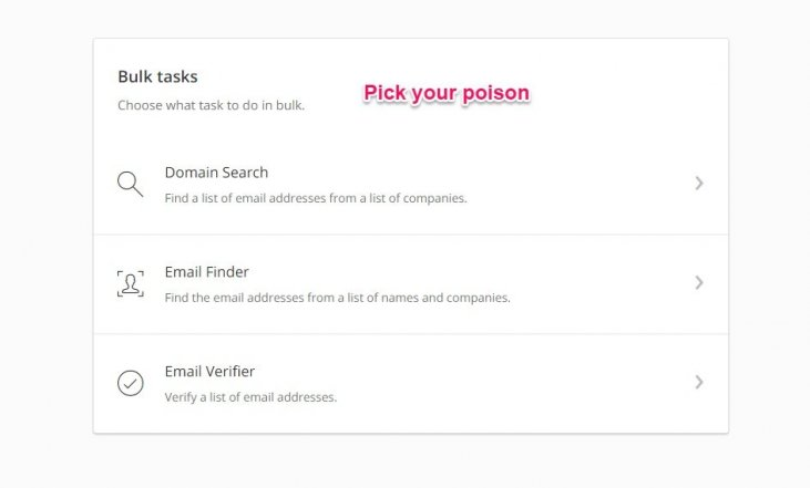 Find new b2b leads by domain via hunter, verify emails or find emails based on a company name or domain.