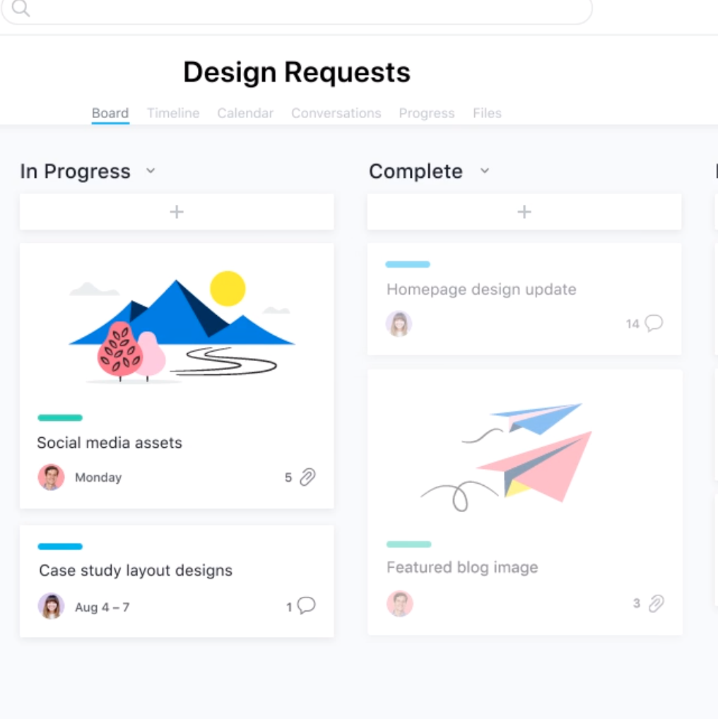 Get insights in the status of your open tasks or requests with the kanban project view from Asana