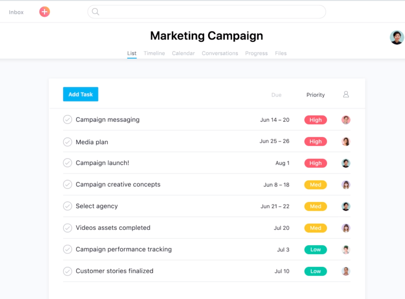 Create an overview of tasks for your marketing campaign within Asana