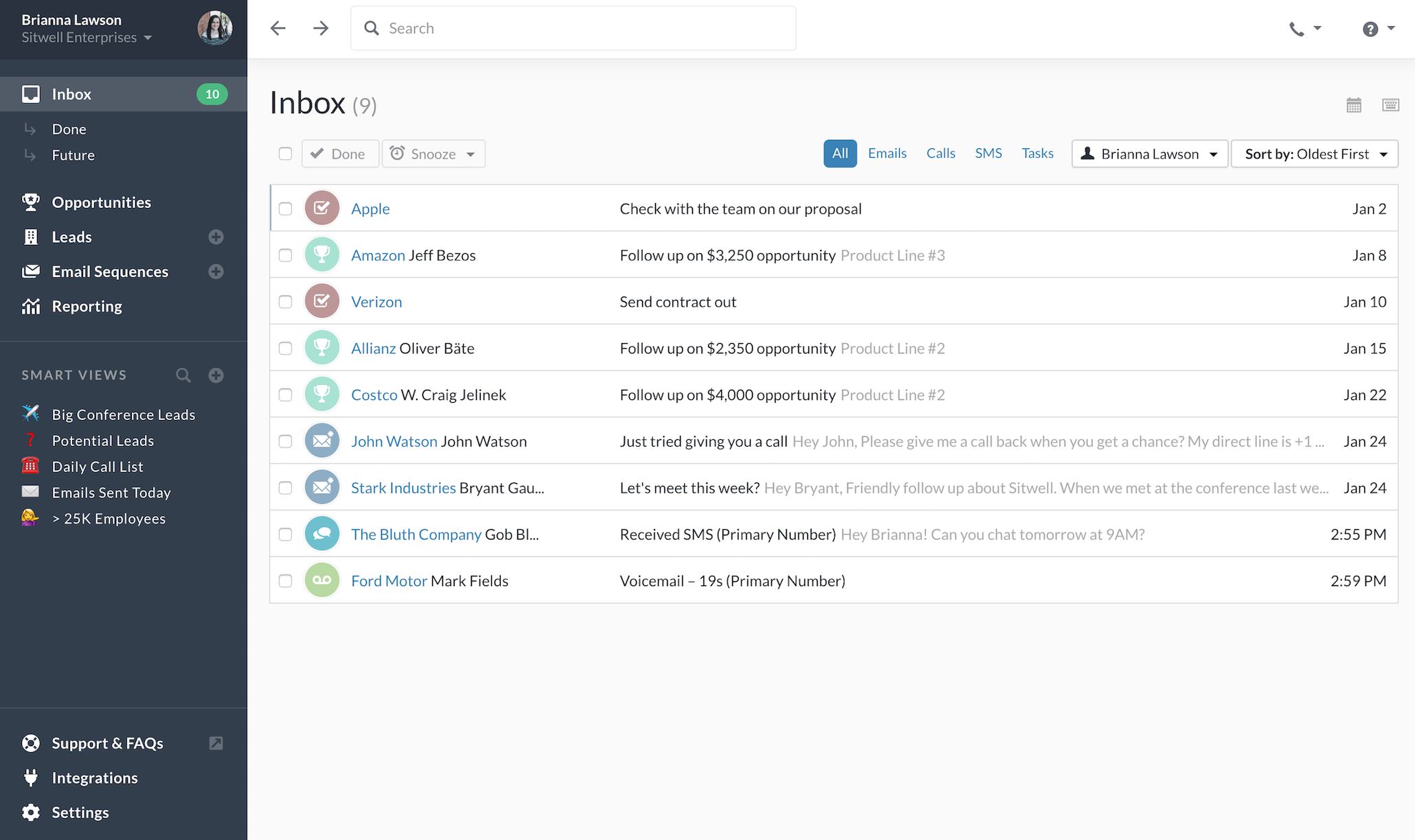 Screenshot of the Close.io Email inbox feature