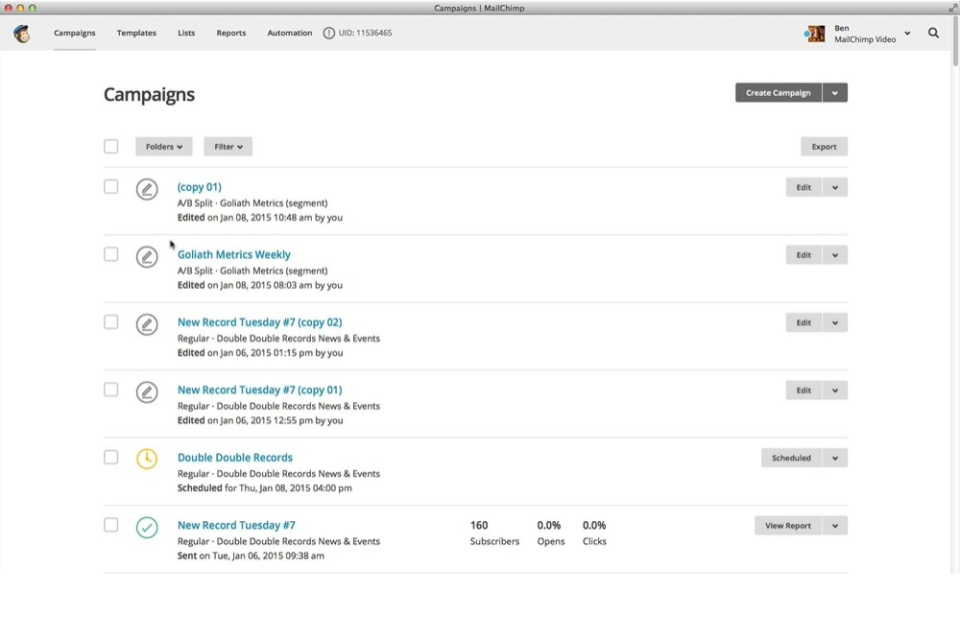 Screenshot of Mailchimp with an overview of your campaigns