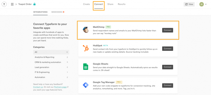 Connect your Mailchimp account to your favourite tools