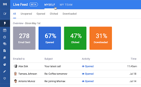 Screenshot of the MixMax Dashboard and all the email analytics