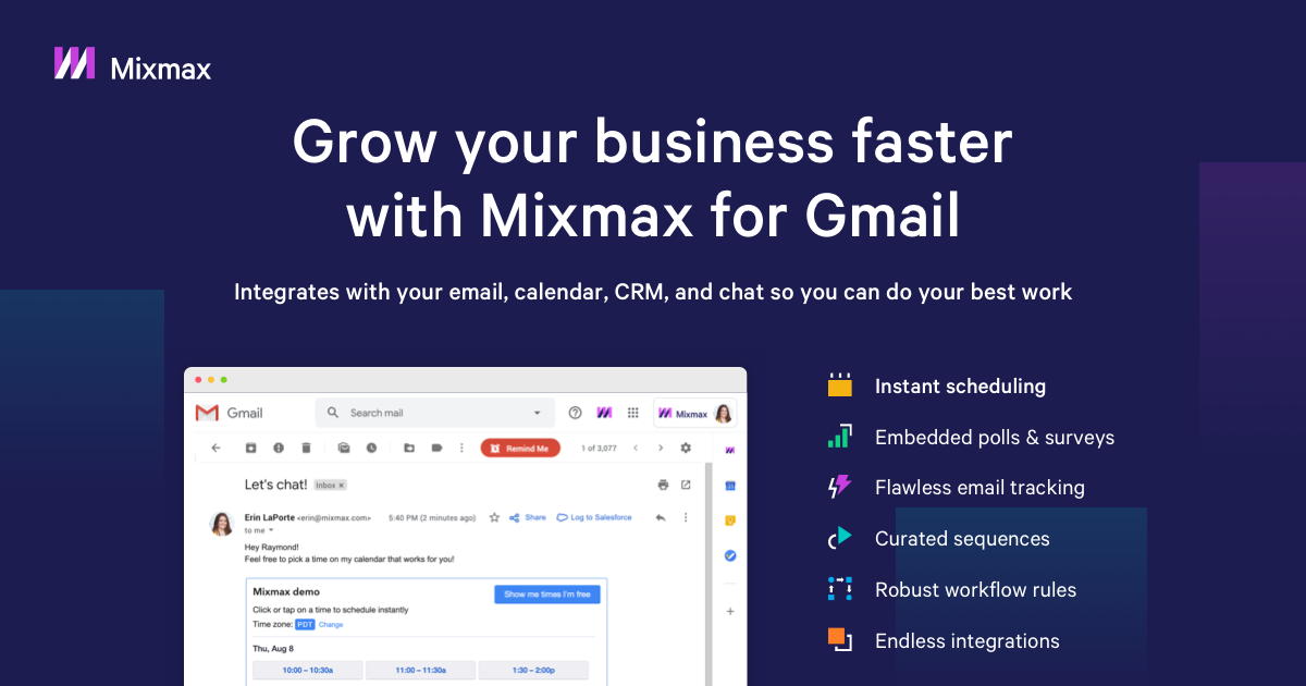 Screenshot of the MixMax homepage and the features they offer