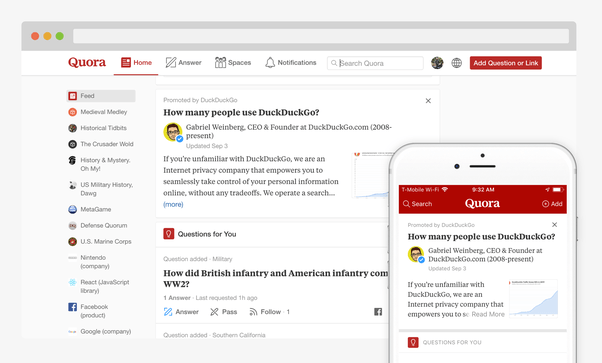 Screenshot of the Quora feed on mobile and desktop