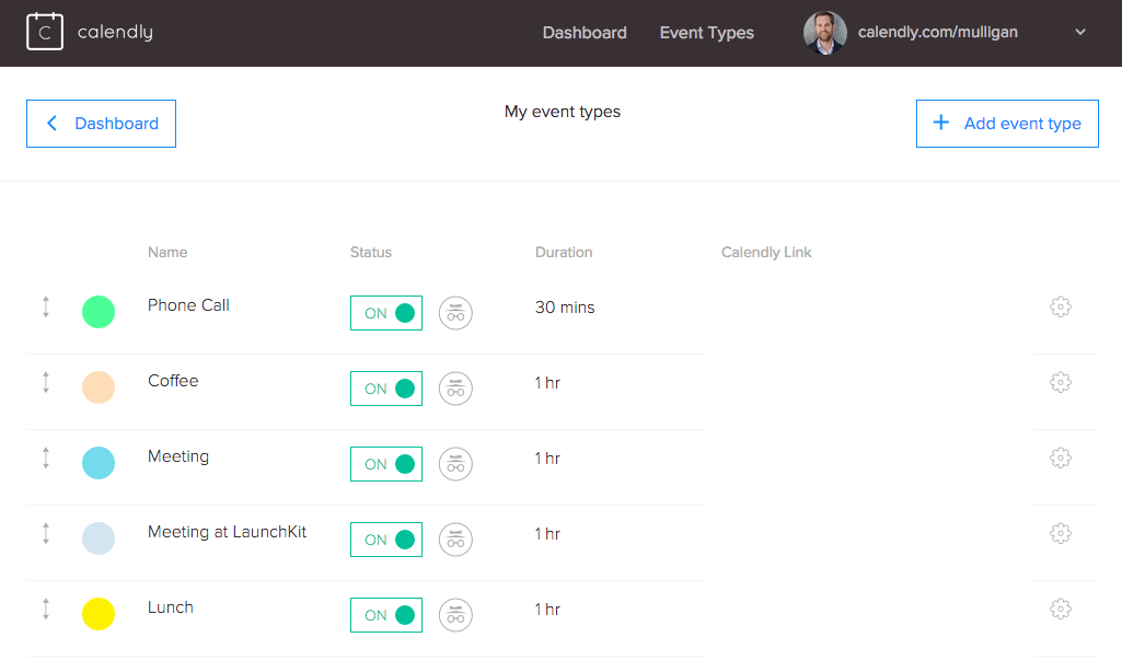 Create different event types where people can book something directly in your agenda