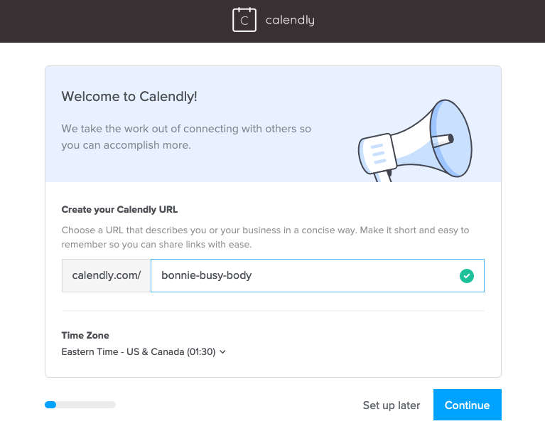Create your own url where you can send people towards who want to book a meeting with you