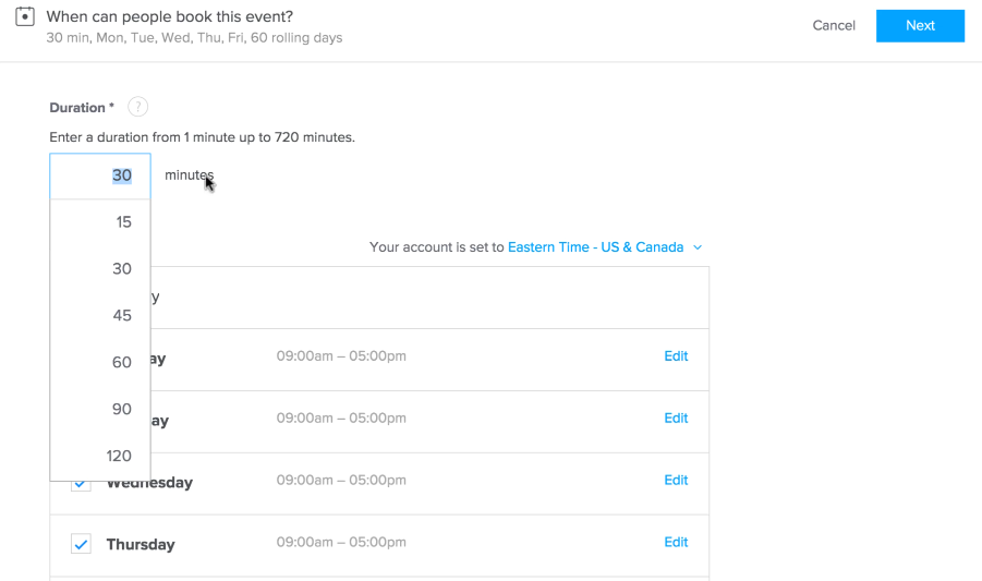 Setup a meeting duration time for every event you create