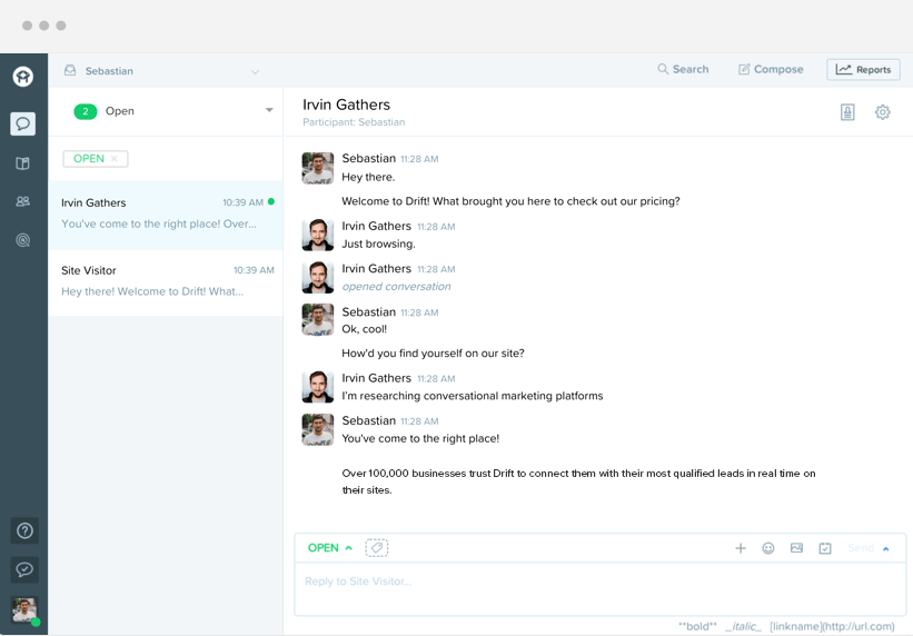 Interact with your website visitors via the chat from Drift