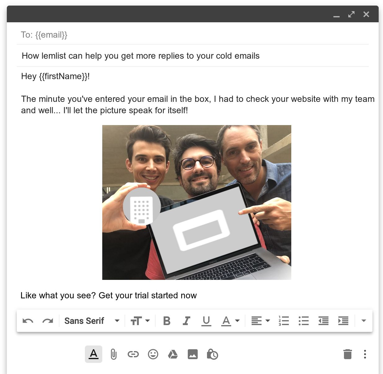 create hyper personalized emails using lemlist, include prospect pictures in the emails