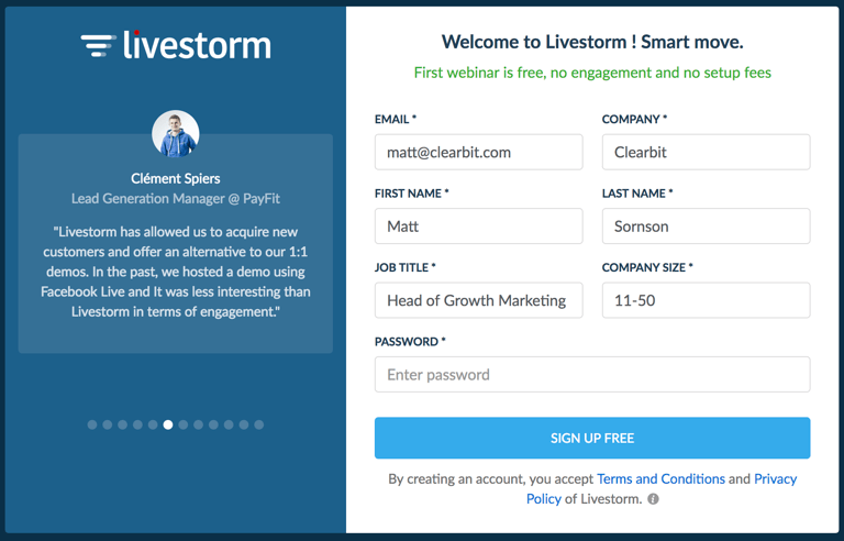 How to create an account at Livestorm