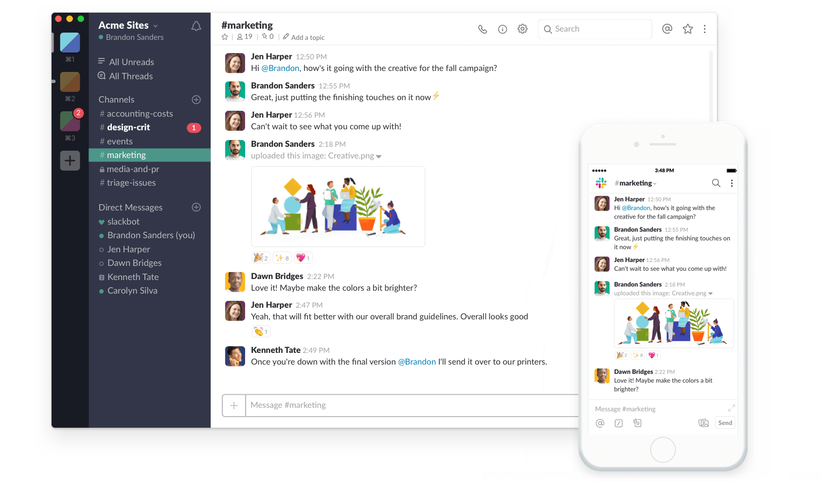 communicate easily within your company within slack using different channels