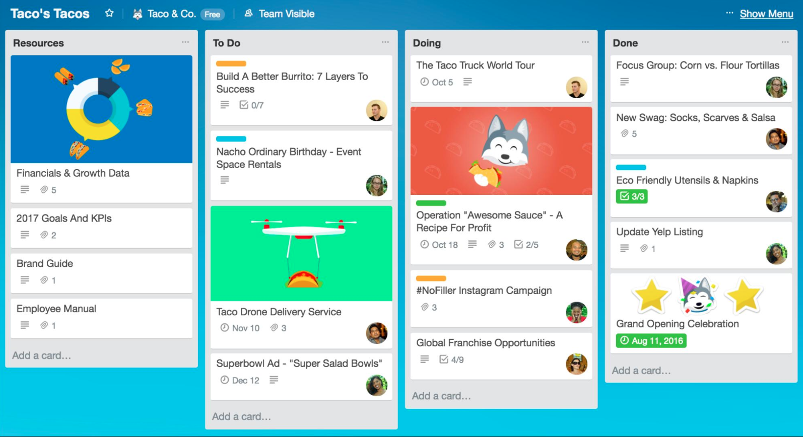 Get on top of your projects by putting the to do's in a kan ban view within Trello