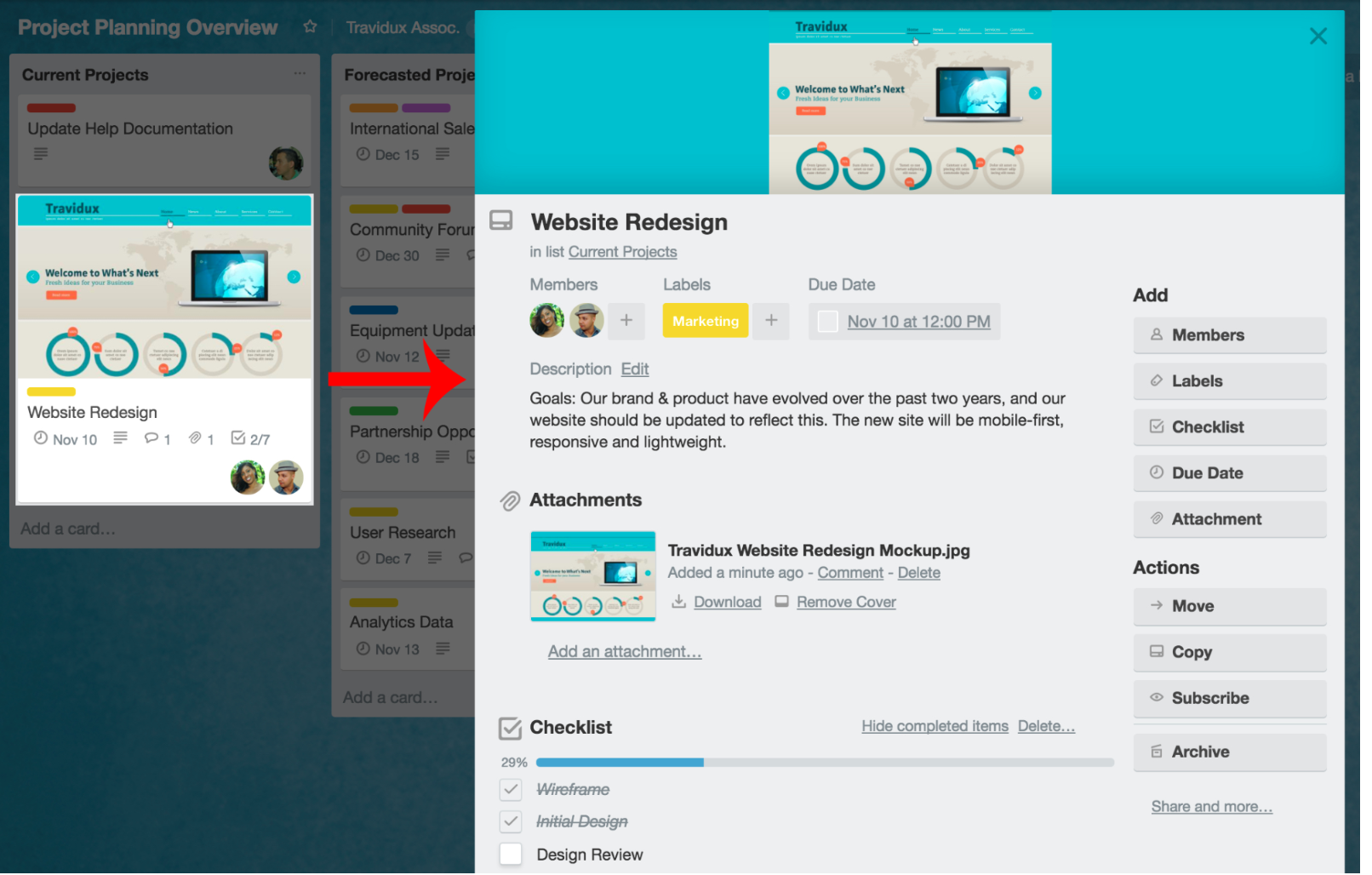 Get more insights per card by clicking on them within Trello