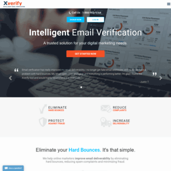 Screenshot of the xverify homepage