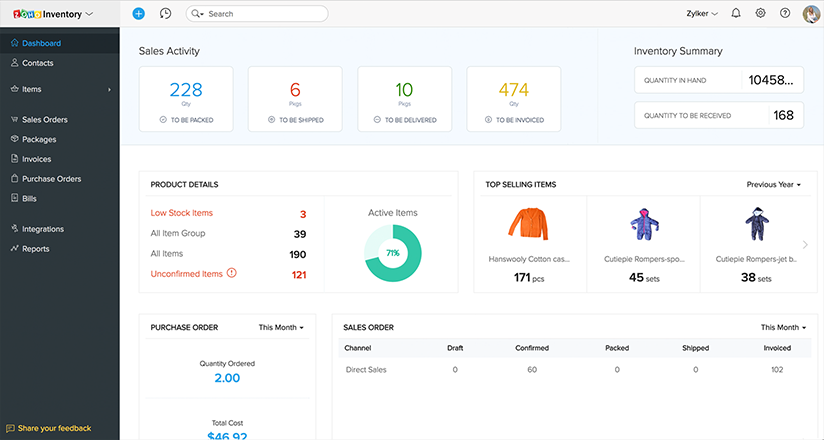 Get a complete insights of your sales pipeline and high performing items with Zoho Inventory