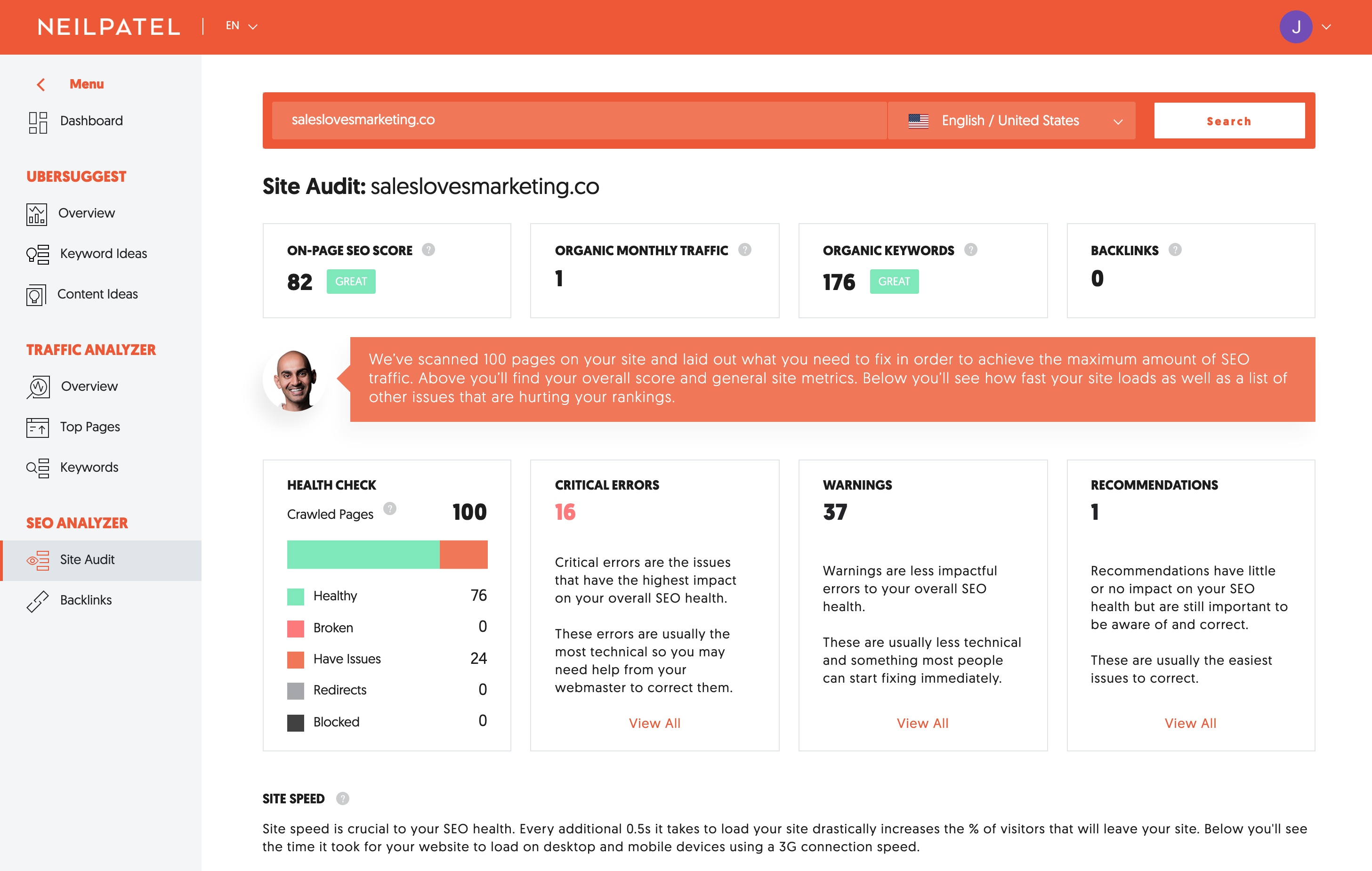 Do an site audit and get insights on how you can improve your SEO with Ubersuggest