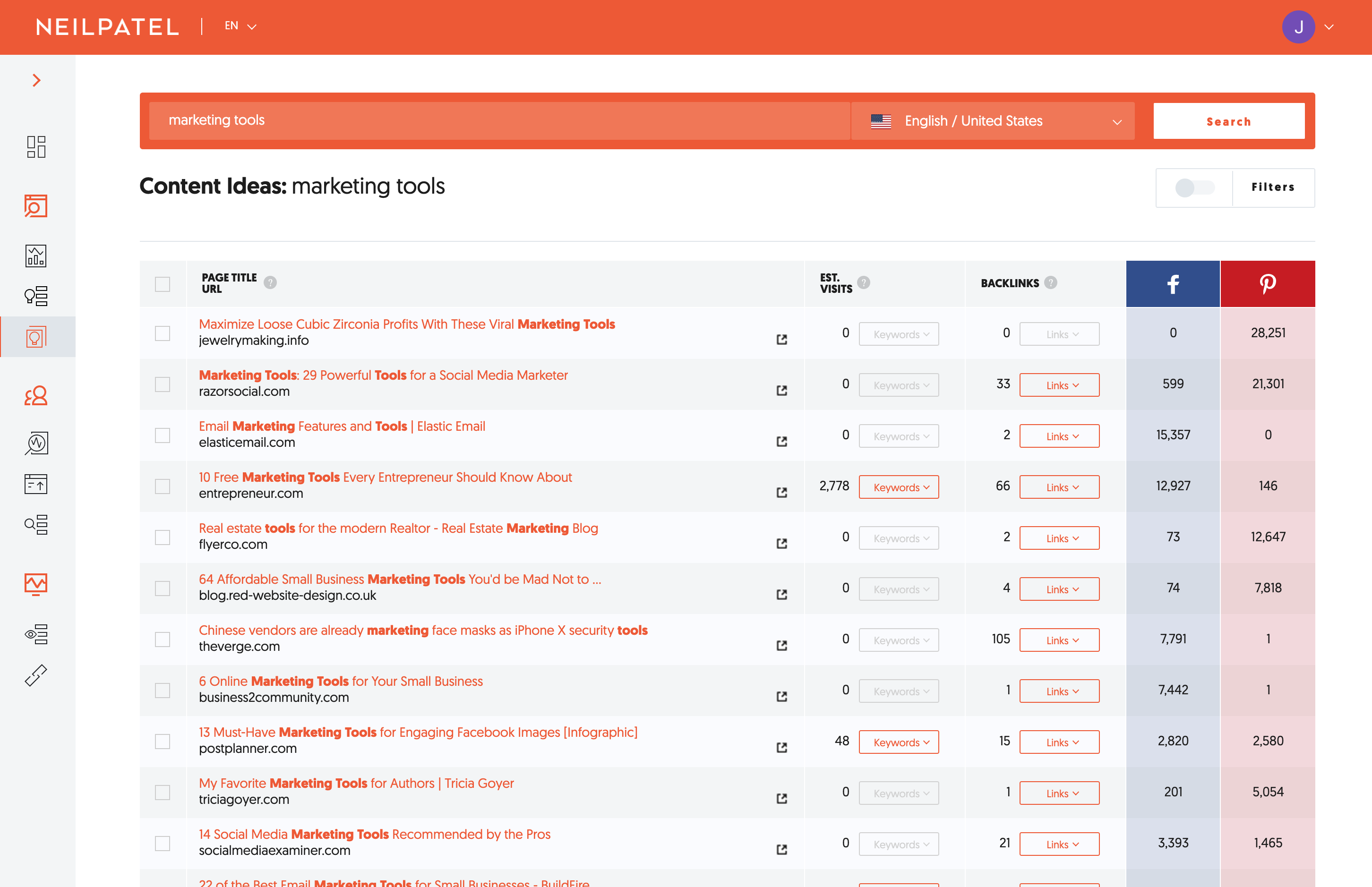 Get new content ideas with ubersuggest based on keywords