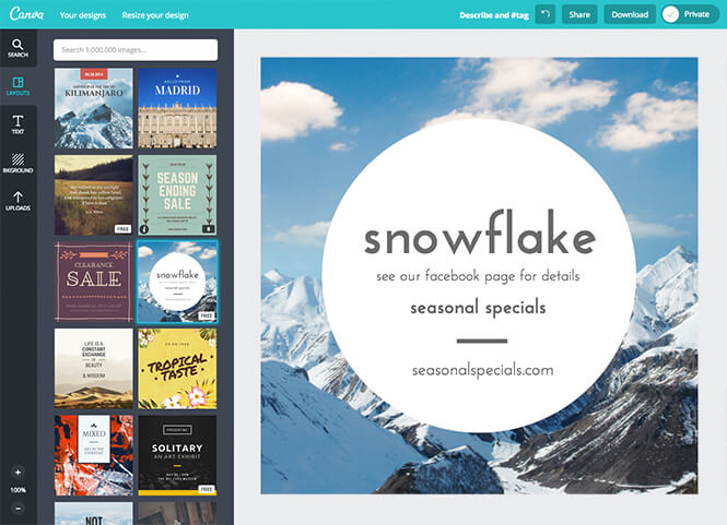 Make use of design templates within Canva to quickly create your own designs.