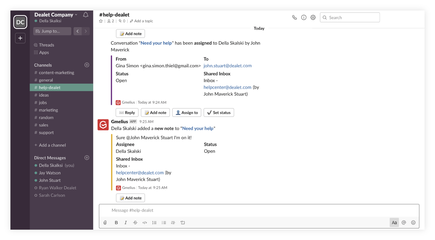 Integrate Gmelius with Slack and more tools