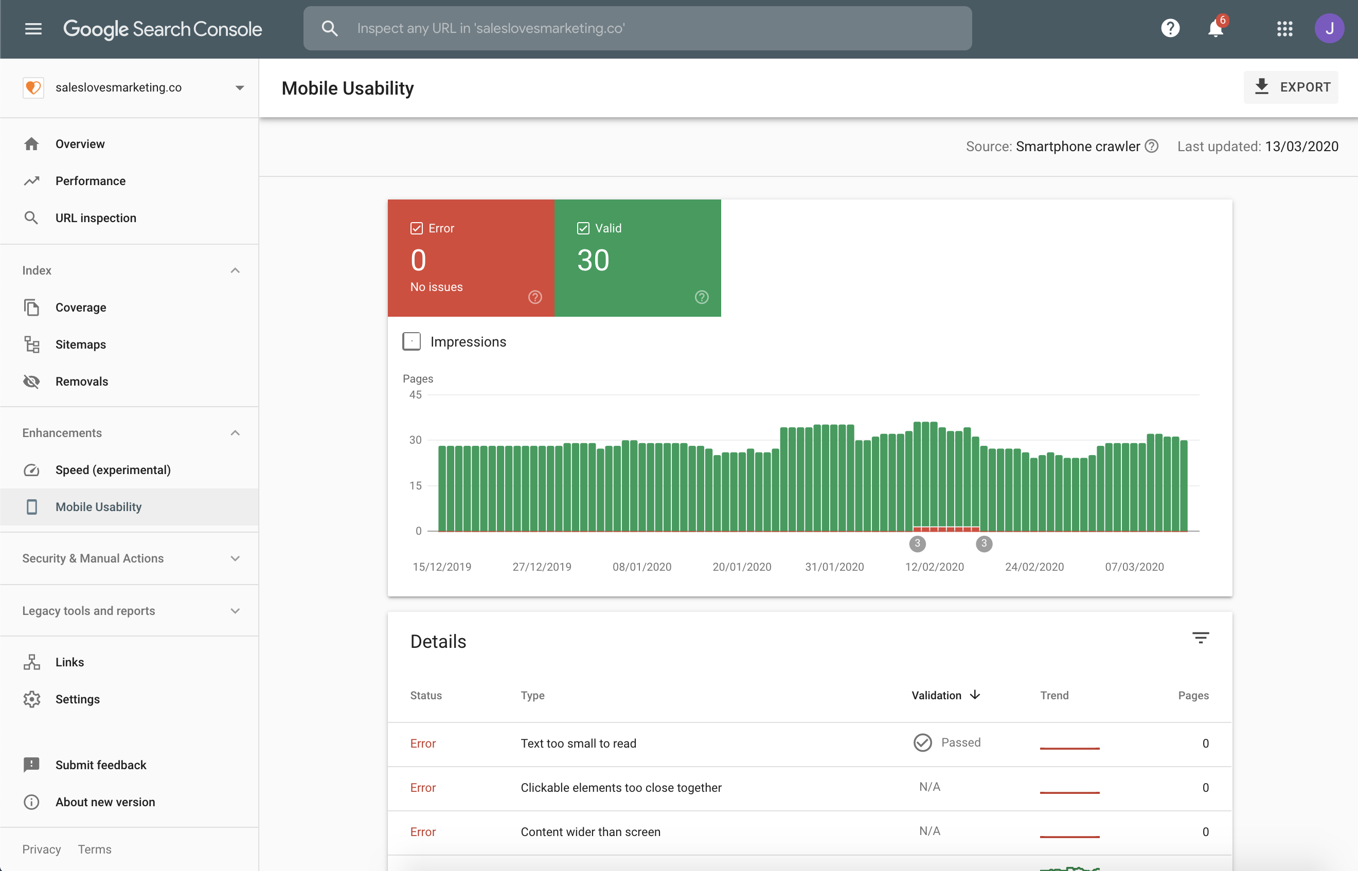 Test your Mobile usability with Google Search Console