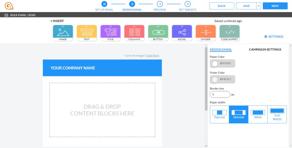 Send out bulk emails using the drag and drop email design features from Automizy