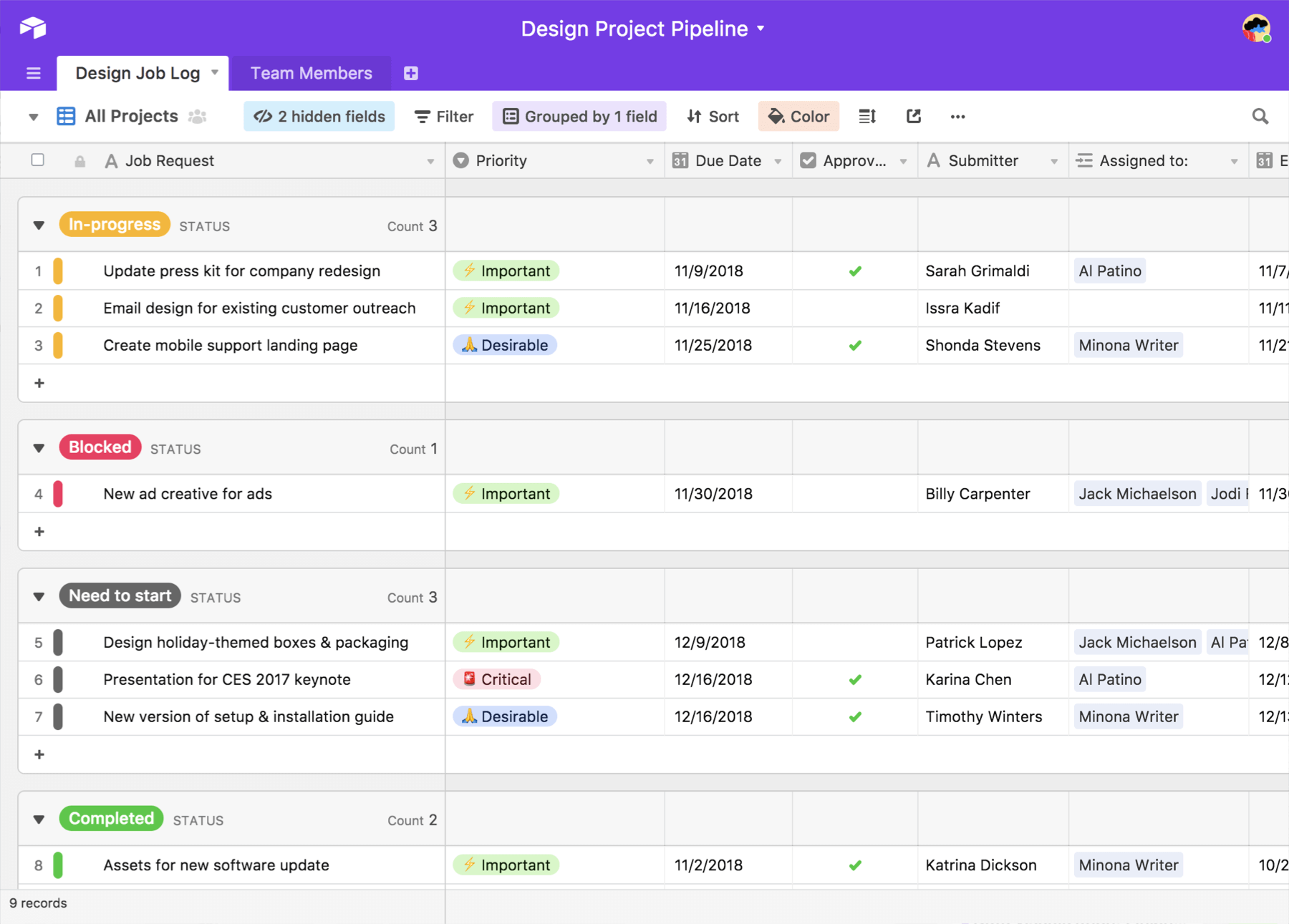 See all your projects in one clear overview with Airtable