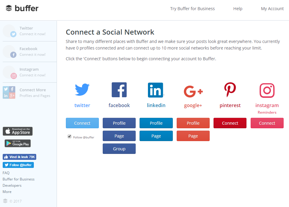 Publish content automatically on different social media channels using Buffer