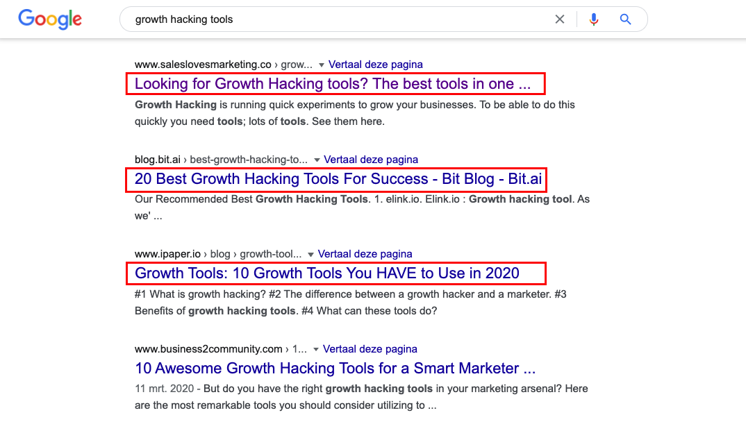 Screenshot of Meta title examples with the search term Growth Hacking tools