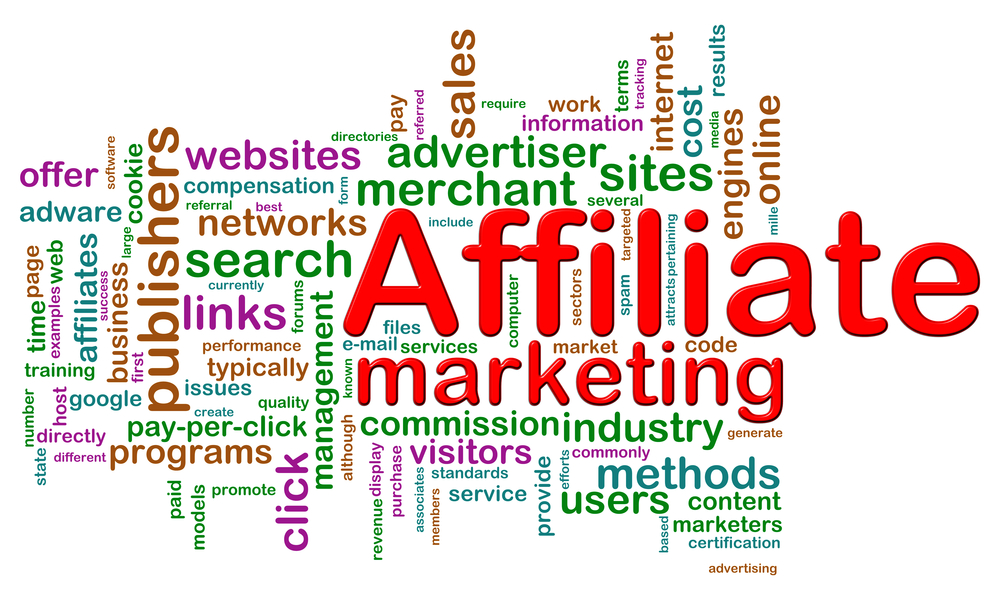 Affiliate marketing terms in a wordcloud