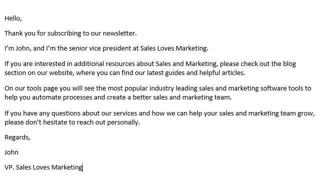 Sample of a lead nurture email