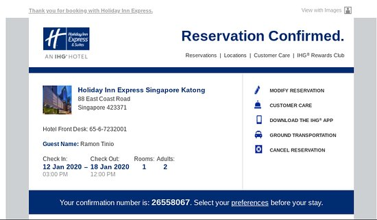 Example of a drip email with a confirmation reservation for a hotel