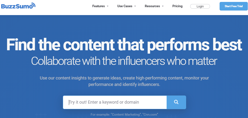 Screenshot of the homepage of BuzzSumo, helps you to get in contact with influenceers