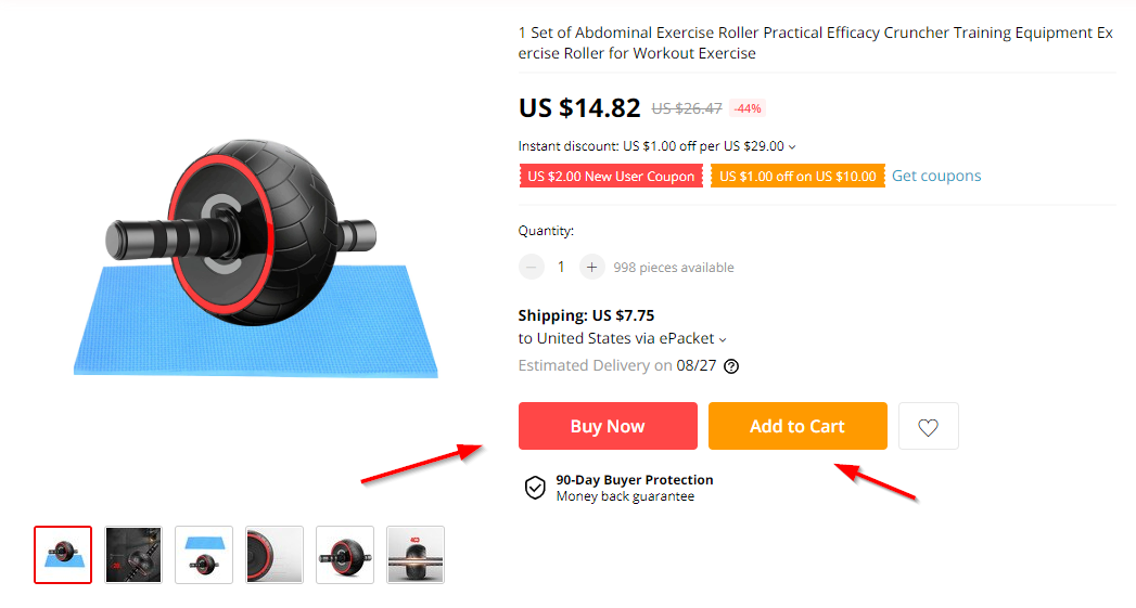 screenshot of a aliexpress example where they have add to cart and buy now