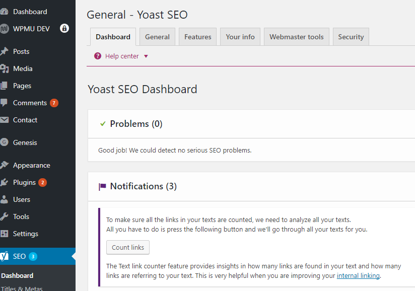 Yoast SEO dashboard within Wordpress