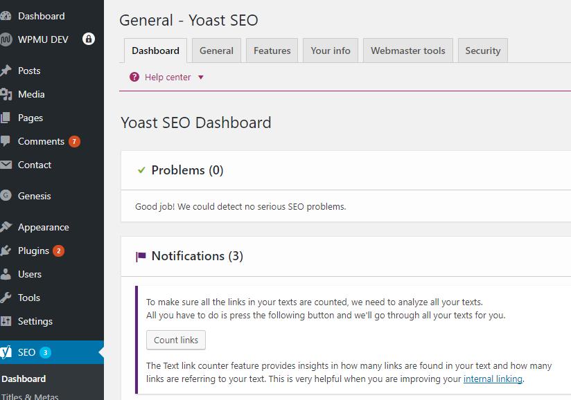 Yoast SEO dashboard within Wordpress