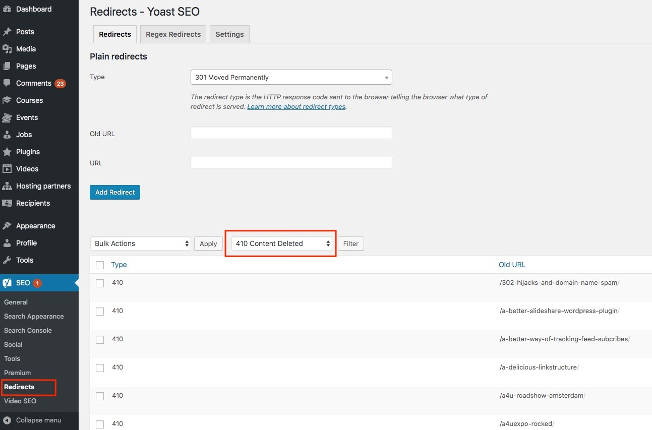 Setup re-directs with the Yoast SEO plugin