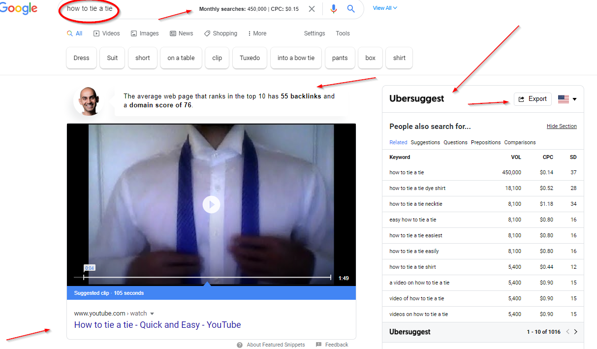 Ubersuggest chrome extension insights within Google