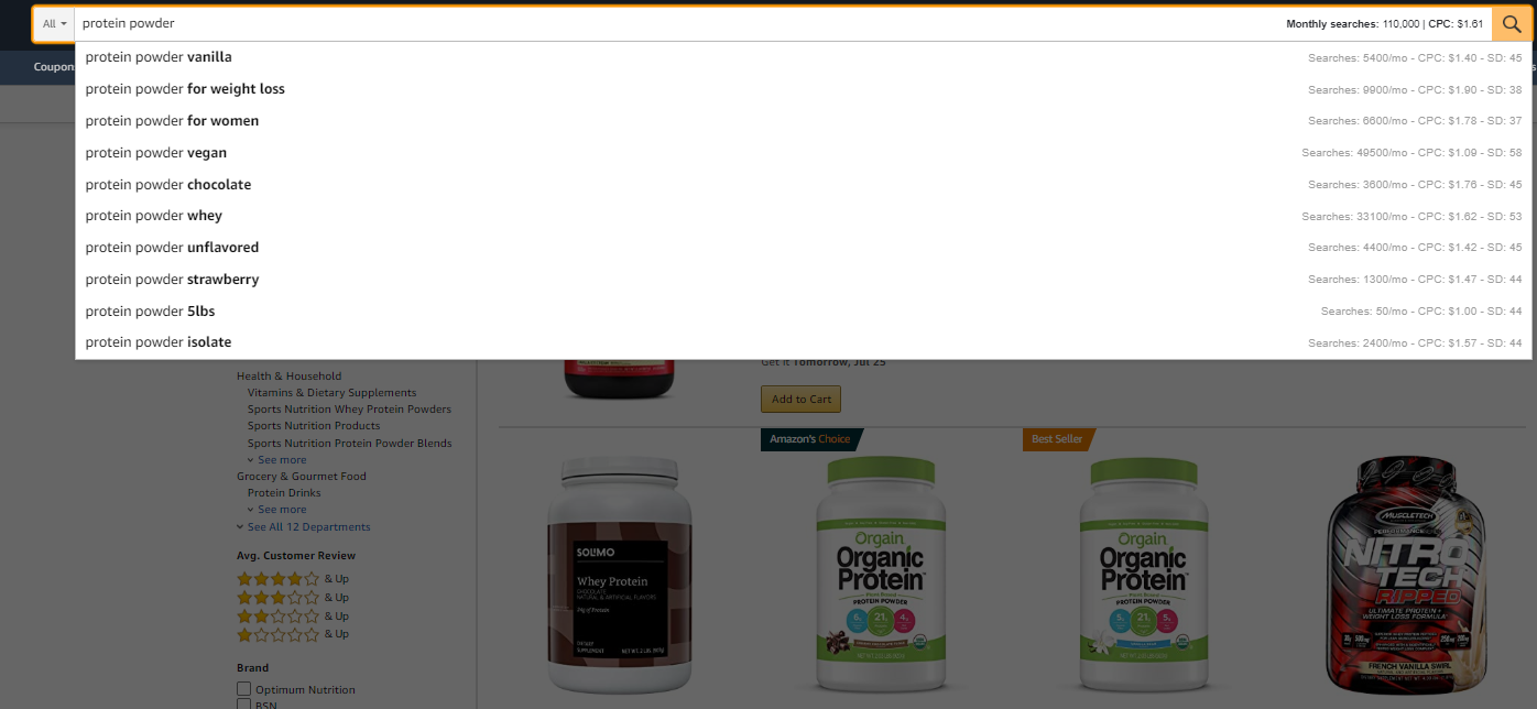 Use the ubersuggest chrome extension within Amazon to get keyword insights