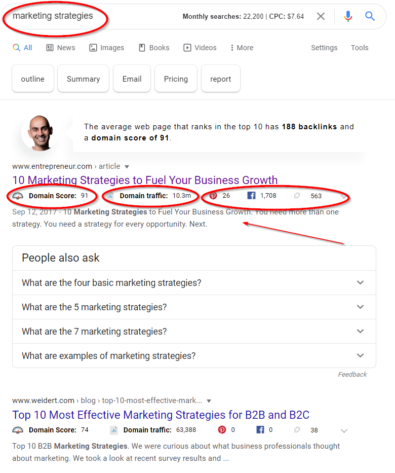 Get domain level metrics within google using the ubersuggest chrome extension