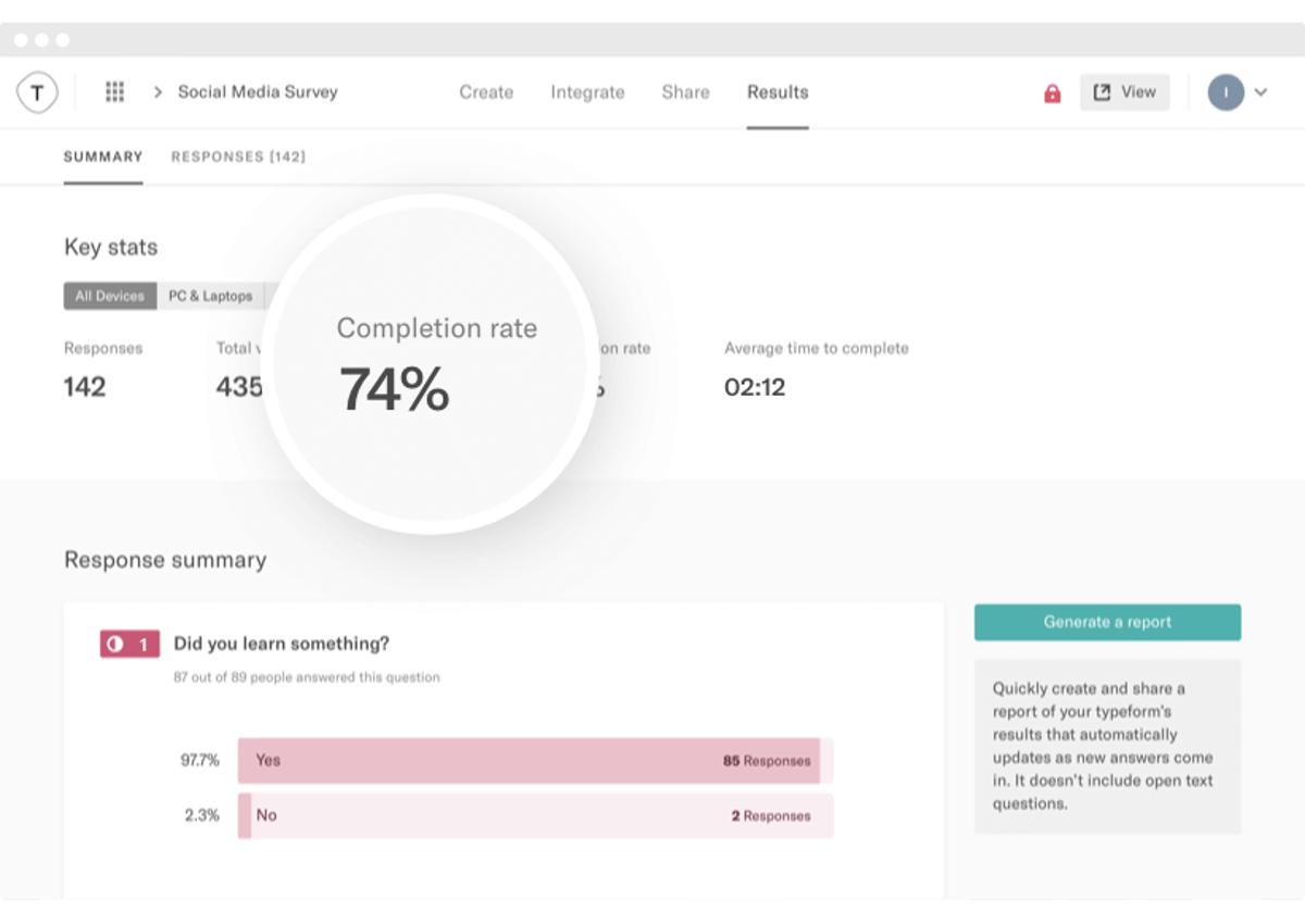 Typeform results screenshot