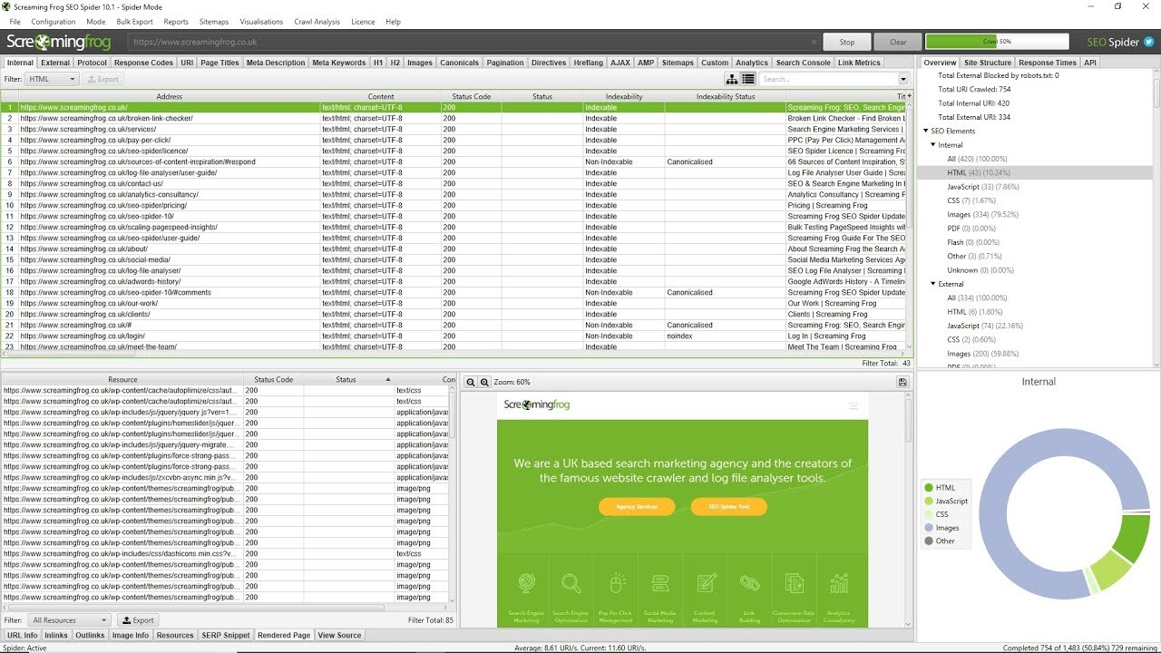 Get on-site SEO insights with SEO spider from Screamingfrog