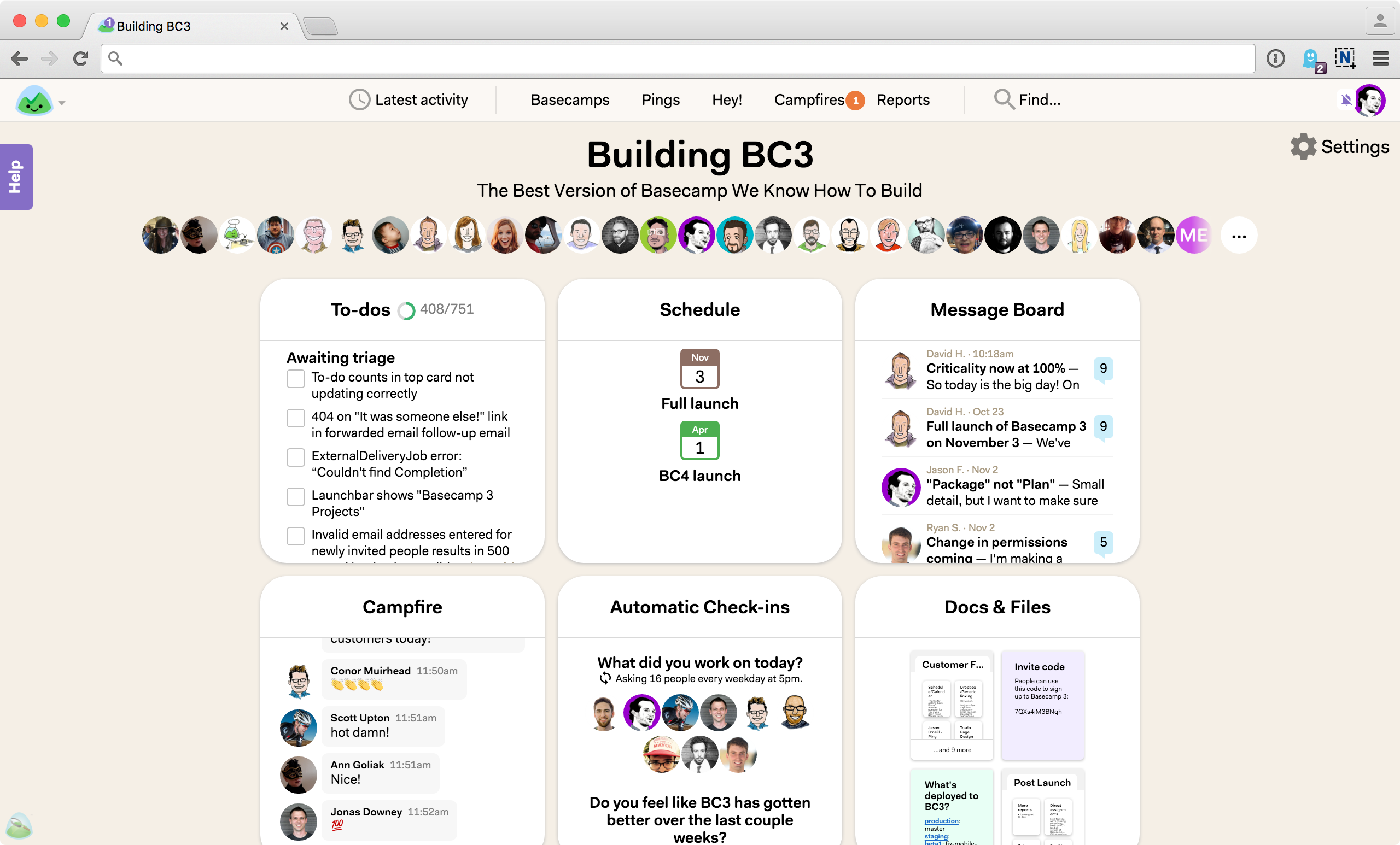 Organize your project easily with the use of Basecamp