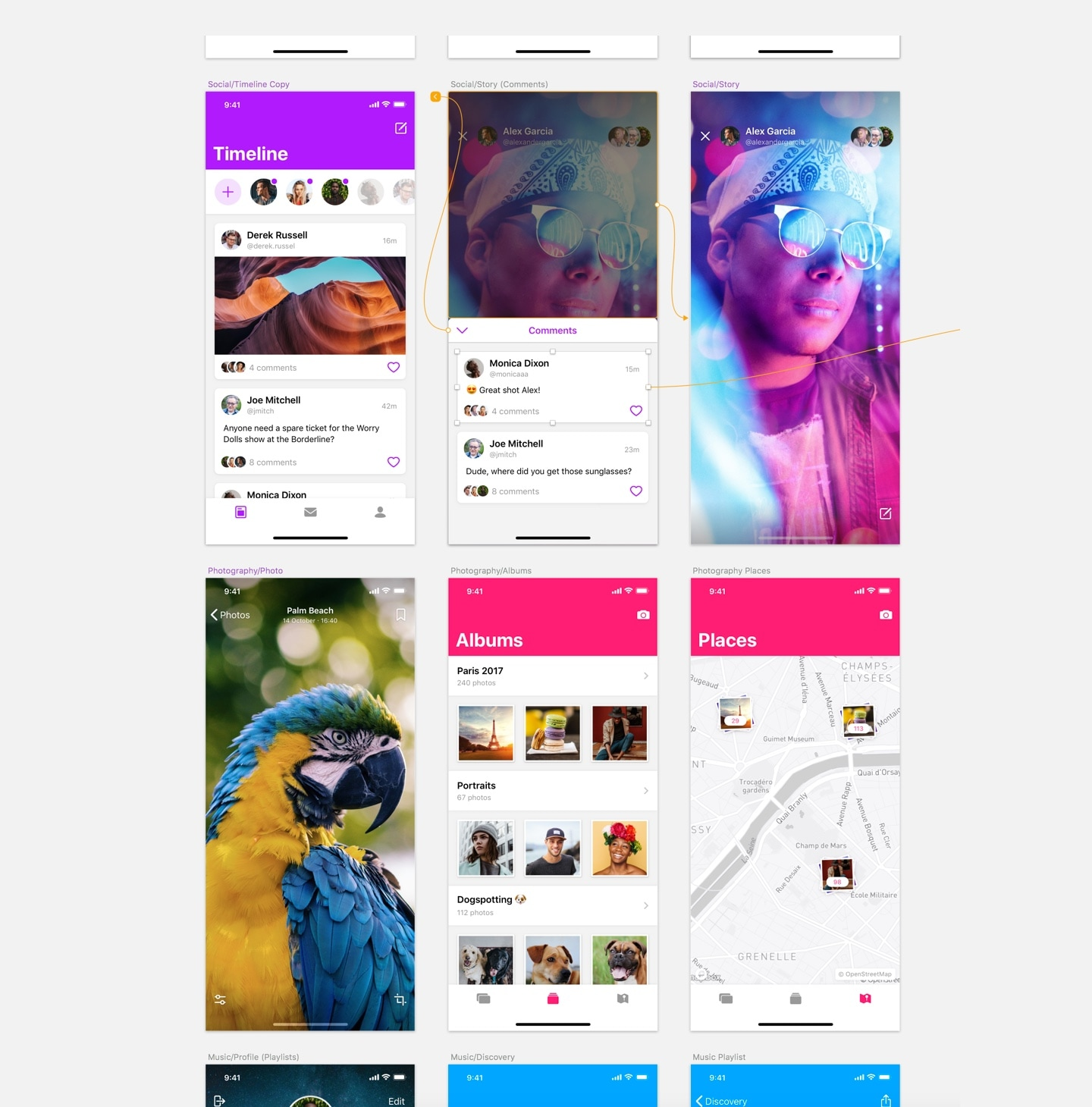 One overview with all your app designs and work together on them