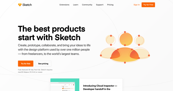 screenshot of the sketch homepage, the all in one design app