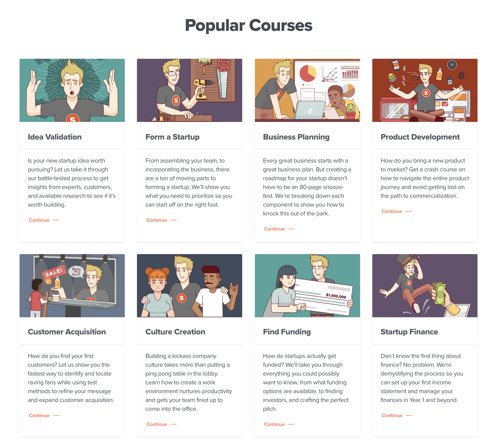 Overview of all the courses on startups.com