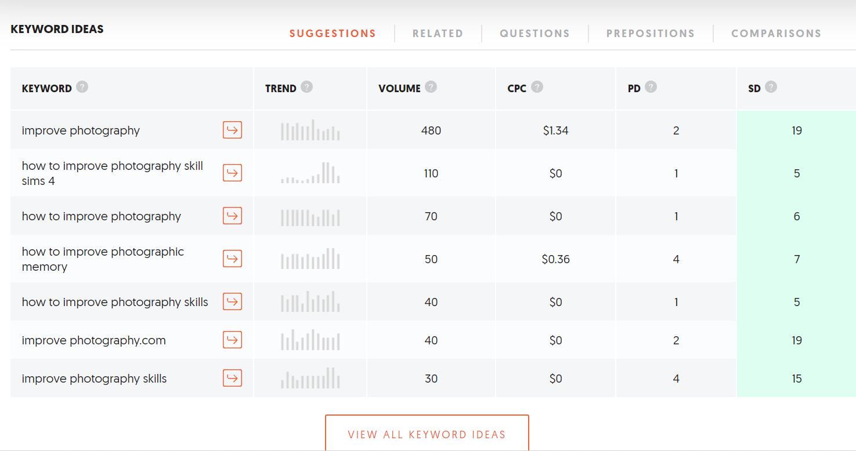 Get keyword ideas with the Ubersuggest SEO tool