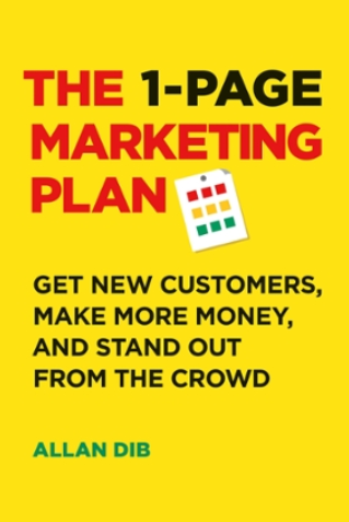 Marketing book cover; the 1-page marketing plan