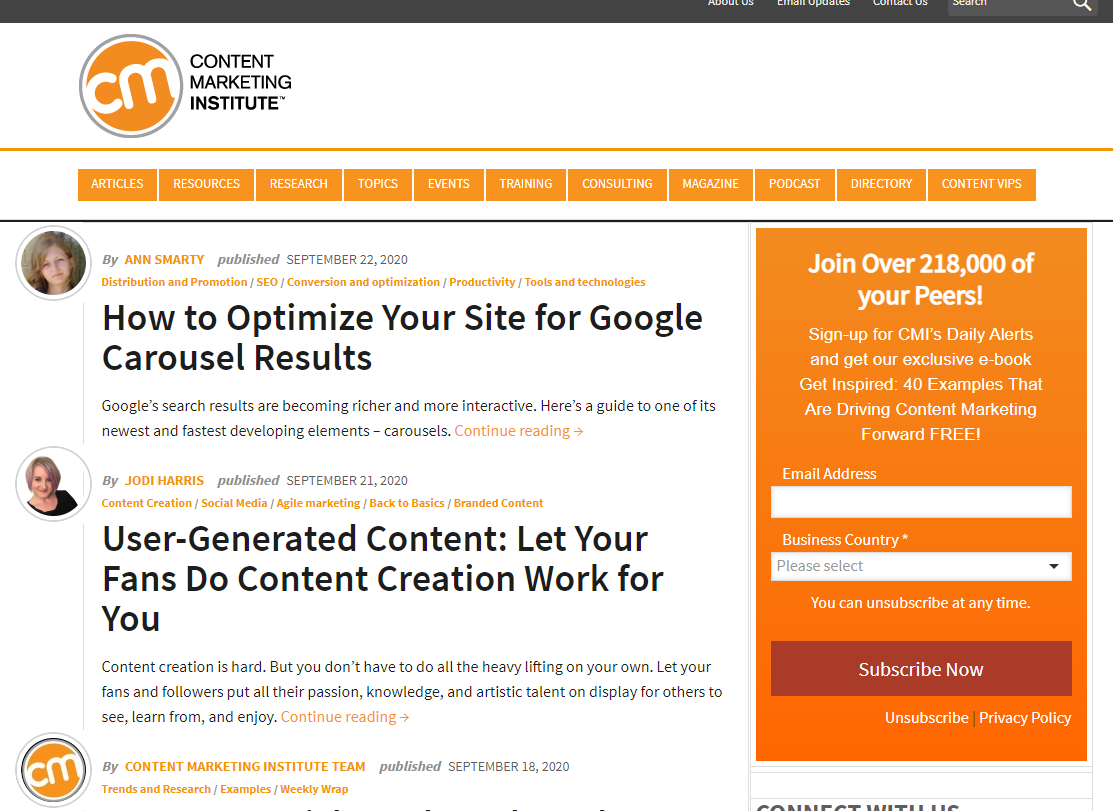 Content Marketing Institute is a great way get updates about anything related to marketing.